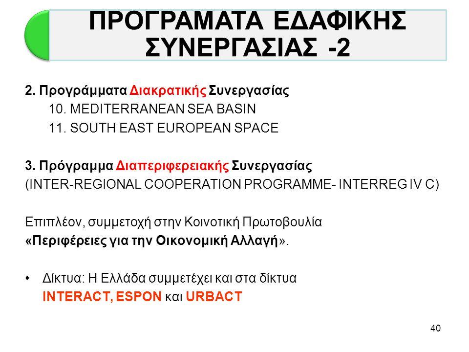 40 2. Προγράμματα Διακρατικής Συνεργασίας 10. MEDITERRANEAN SEA BASIN 11. SOUTH EAST EUROPEAN SPACE 3. Πρόγραμμα Διαπεριφερειακής Συνεργασίας (INTER-R