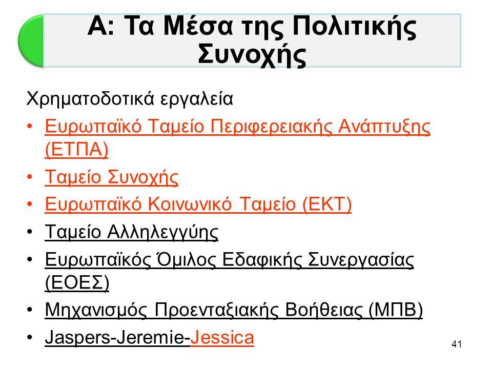 41 Χρηματοδοτικά εργαλεία •Ευρωπαϊκό Ταμείο Περιφερειακής Ανάπτυξης (ΕΤΠΑ) •Ταμείο Συνοχής •Ευρωπαϊκό Κοινωνικό Ταμείο (ΕΚΤ) •Ταμείο Αλληλεγγύης •Ευρω