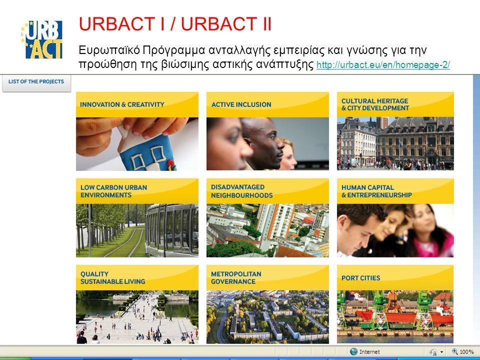 47 URBACT I / URBACT II Ευρωπαϊκό Πρόγραμμα ανταλλαγής εμπειρίας και γνώσης για την προώθηση της βιώσιμης αστικής ανάπτυξης http://urbact.eu/en/homepa