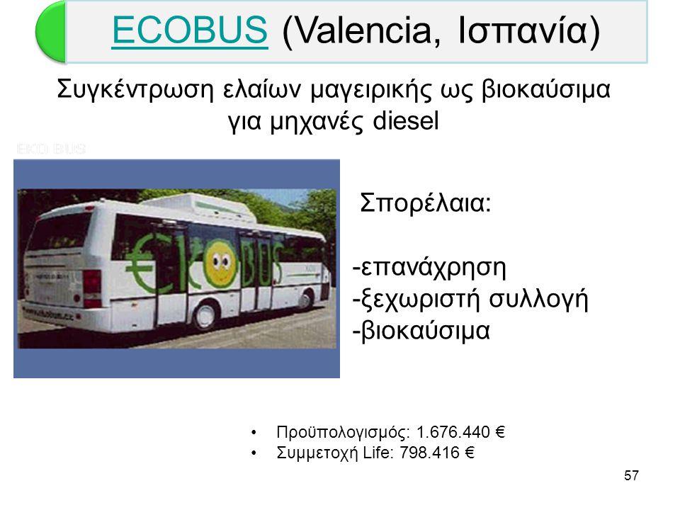 57 Σπορέλαια: -επανάχρηση -ξεχωριστή συλλογή -βιοκαύσιμα •Προϋπολογισμός: 1.676.440 € •Συμμετοχή Life: 798.416 € Συγκέντρωση ελαίων μαγειρικής ως βιοκ