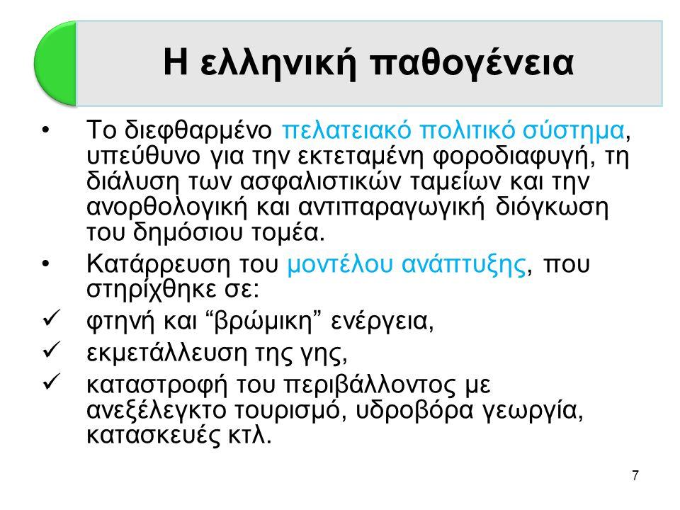7 Η Ελλάδα •Το διεφθαρμένο πελατειακό πολιτικό σύστημα, υπεύθυνο για την εκτεταμένη φοροδιαφυγή, τη διάλυση των ασφαλιστικών ταμείων και την ανορθολογ