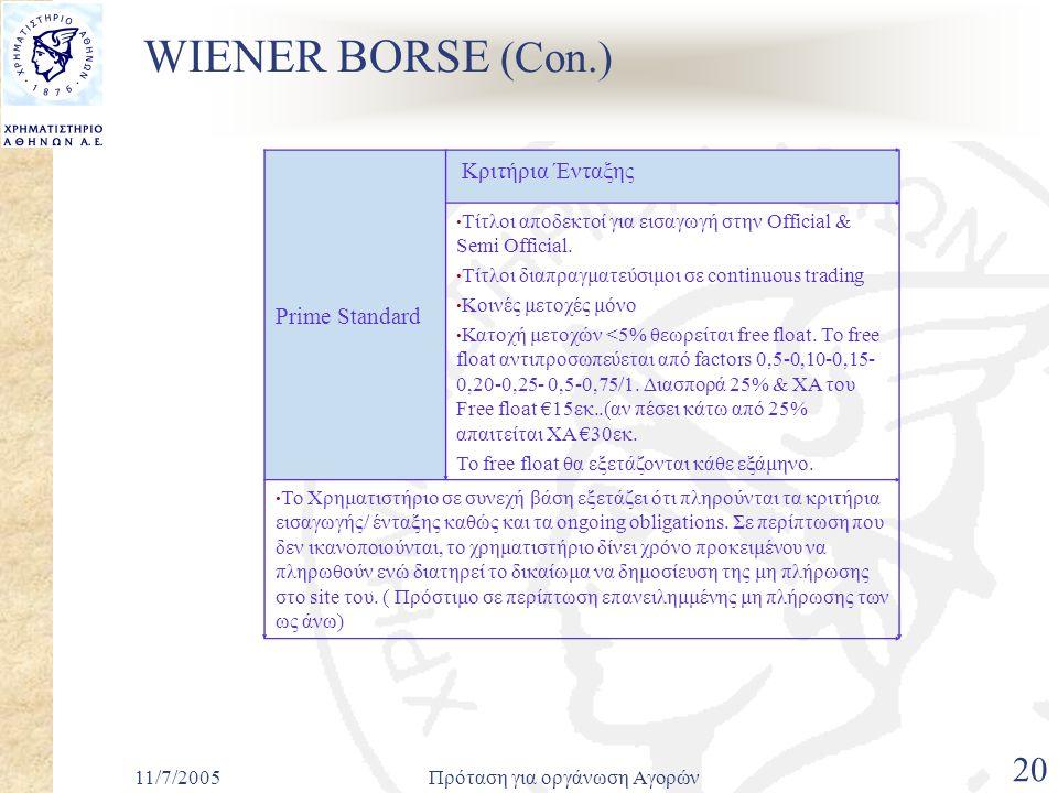 11/7/2005Πρόταση για οργάνωση Αγορών 20 WIENER BORSE (Con.) Prime Standard Κριτήρια Ένταξης • Τίτλοι αποδεκτοί για εισαγωγή στην Official & Semi Official.