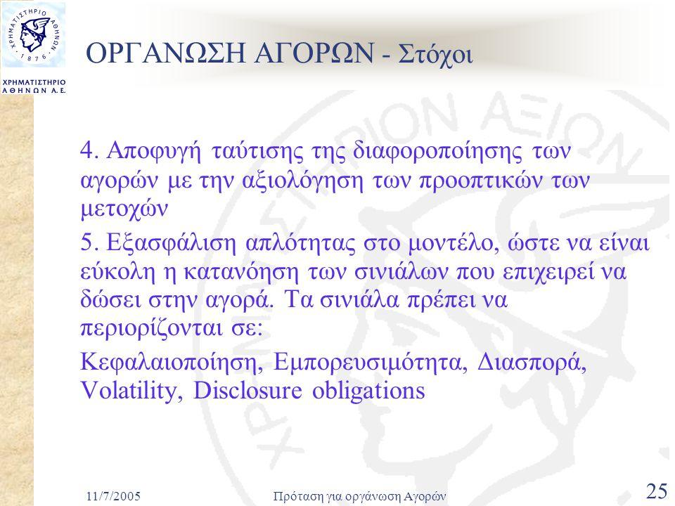 11/7/2005Πρόταση για οργάνωση Αγορών 25 ΟΡΓΑΝΩΣΗ ΑΓΟΡΩΝ - Στόχοι 4.