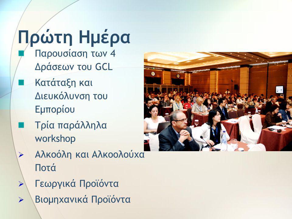 Πρώτη Ημέρα Παρουσίαση των 4 Δράσεων του GCL Κατάταξη και Διευκόλυνση του Εμπορίου Τρία παράλληλα workshop  Αλκοόλη και Αλκοολούχα Ποτά  Γεωργικά Προϊόντα  Βιομηχανικά Προϊόντα