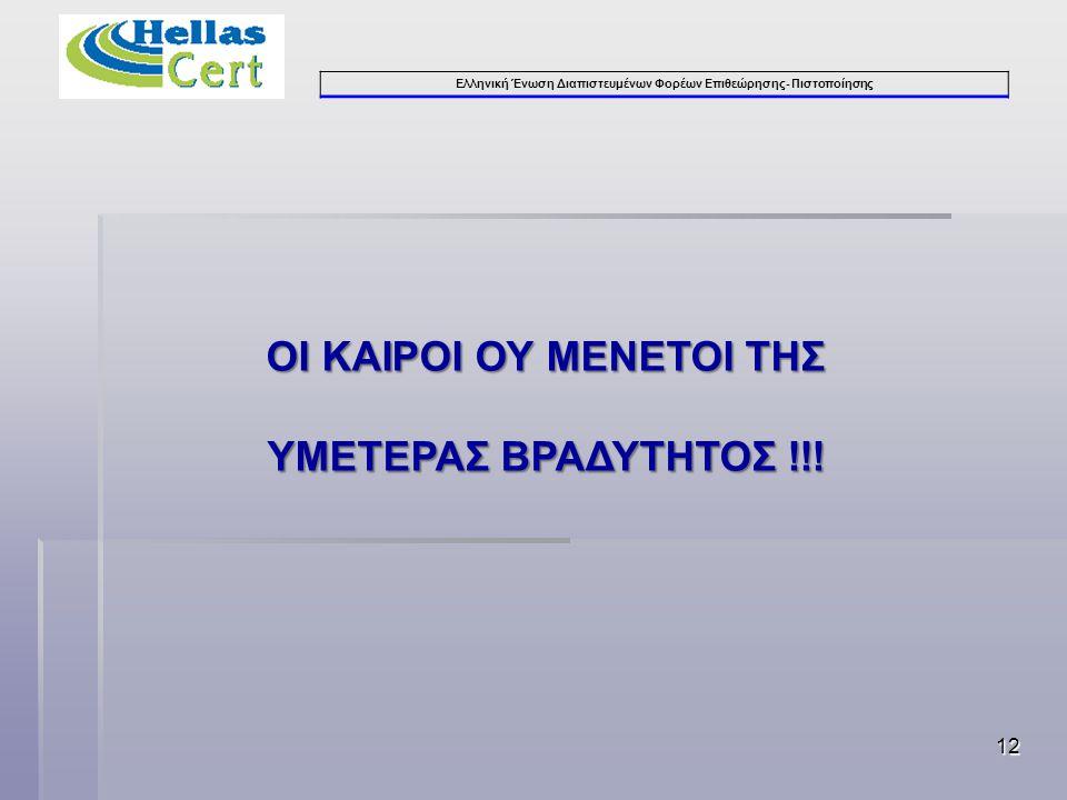 Ελληνική Ένωση Διαπιστευμένων Φορέων Επιθεώρησης- Πιστοποίησης ΟΙ ΚΑΙΡΟΙ ΟΥ ΜΕΝΕΤΟΙ ΤΗΣ ΥΜΕΤΕΡΑΣ ΒΡΑΔΥΤΗΤΟΣ !!! 12