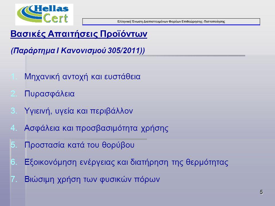 Ελληνική Ένωση Διαπιστευμένων Φορέων Επιθεώρησης- Πιστοποίησης Βασικές Απαιτήσεις Προϊόντων (Παράρτημα Ι Κανονισμού 305/2011)) 1.Μηχανική αντοχή και ευστάθεια 2.Πυρασφάλεια 3.Υγιεινή, υγεία και περιβάλλον 4.Ασφάλεια και προσβασιμότητα χρήσης 5.Προστασία κατά του θορύβου 6.Εξοικονόμηση ενέργειας και διατήρηση της θερμότητας 7.Βιώσιμη χρήση των φυσικών πόρων 5