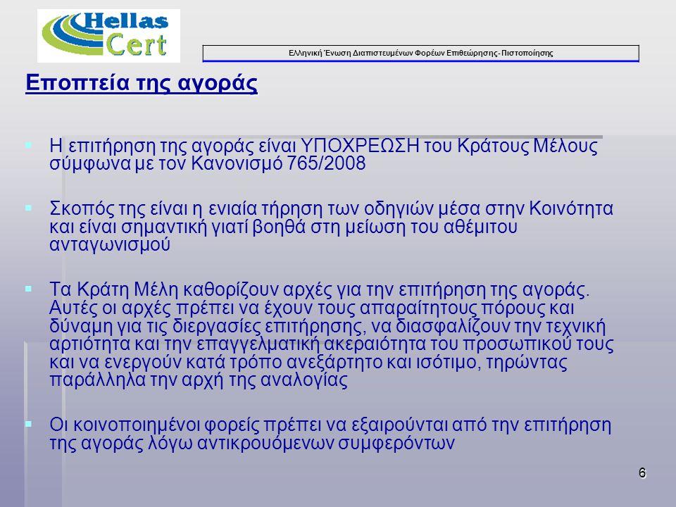 Ελληνική Ένωση Διαπιστευμένων Φορέων Επιθεώρησης- Πιστοποίησης 6 Εποπτεία της αγοράς  Η επιτήρηση της αγοράς είναι ΥΠΟΧΡΕΩΣΗ του Κράτους Μέλους σύμφωνα με τον Κανονισμό 765/2008  Σκοπός της είναι η ενιαία τήρηση των οδηγιών μέσα στην Κοινότητα και είναι σημαντική γιατί βοηθά στη μείωση του αθέμιτου ανταγωνισμού  Τα Κράτη Μέλη καθορίζουν αρχές για την επιτήρηση της αγοράς.