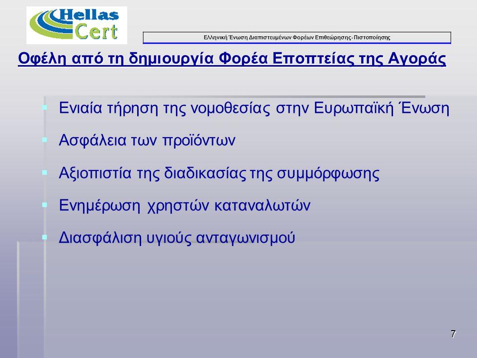 Ελληνική Ένωση Διαπιστευμένων Φορέων Επιθεώρησης- Πιστοποίησης Οφέλη από τη δημιουργία Φορέα Εποπτείας της Αγοράς  Ενιαία τήρηση της νομοθεσίας στην Ευρωπαϊκή Ένωση  Ασφάλεια των προϊόντων  Αξιοπιστία της διαδικασίας της συμμόρφωσης  Ενημέρωση χρηστών καταναλωτών  Διασφάλιση υγιούς ανταγωνισμού 7