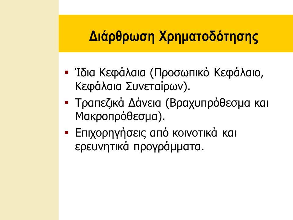 Διάρθρωση Χρηματοδότησης  Ίδια Κεφάλαια (Προσωπικό Κεφάλαιο, Κεφάλαια Συνεταίρων).  Τραπεζικά Δάνεια (Βραχυπρόθεσμα και Μακροπρόθεσμα).  Επιχορηγήσ