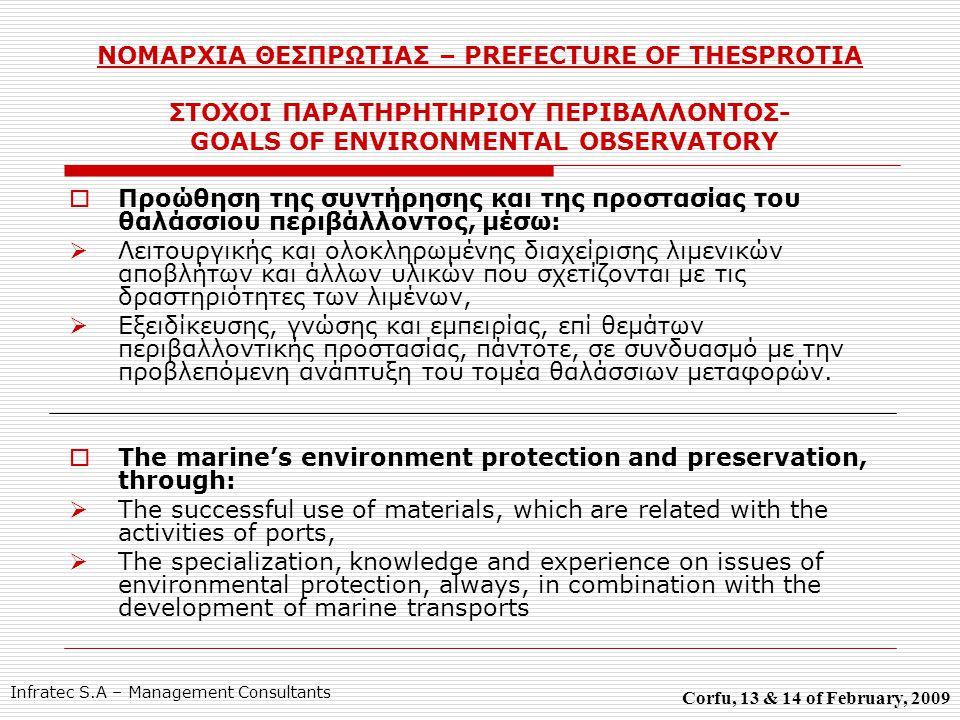 ΝΟΜΑΡΧΙΑ ΘΕΣΠΡΩΤΙΑΣ – PREFECTURE OF THESPROTIA ΣΤΟΧΟΙ ΠΑΡΑΤΗΡΗΤΗΡΙΟΥ ΠΕΡΙΒΑΛΛΟΝΤΟΣ- GOALS OF ENVIRONMENTAL OBSERVATORY  Προώθηση της συντήρησης και της προστασίας του θαλάσσιου περιβάλλοντος, μέσω:  Λειτουργικής και ολοκληρωμένης διαχείρισης λιμενικών αποβλήτων και άλλων υλικών που σχετίζονται με τις δραστηριότητες των λιμένων,  Εξειδίκευσης, γνώσης και εμπειρίας, επί θεμάτων περιβαλλοντικής προστασίας, πάντοτε, σε συνδυασμό με την προβλεπόμενη ανάπτυξη του τομέα θαλάσσιων μεταφορών.