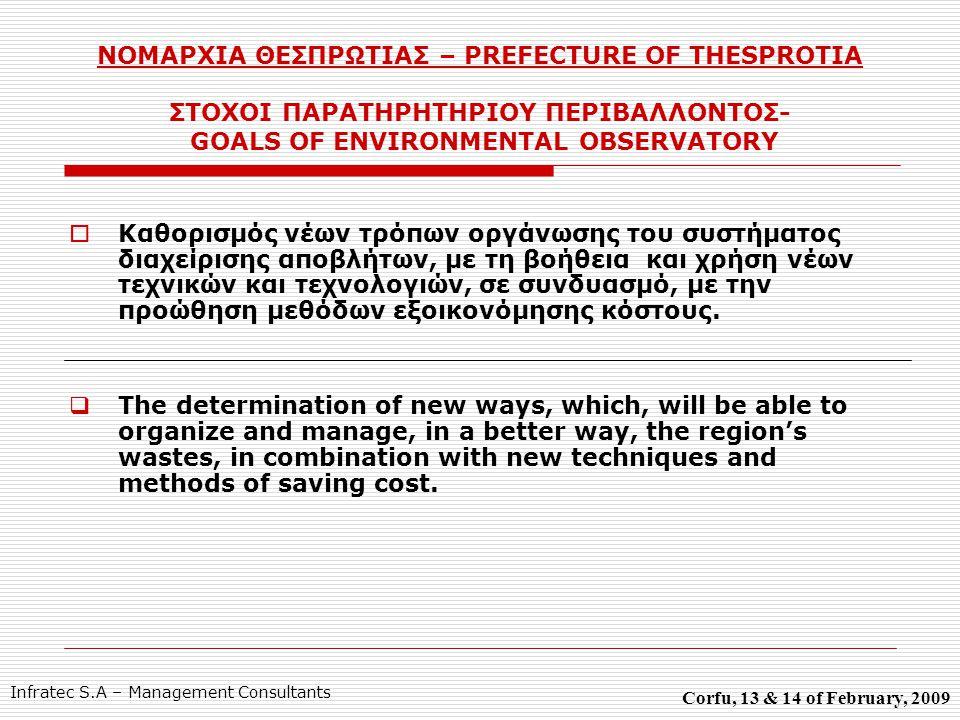 ΝΟΜΑΡΧΙΑ ΘΕΣΠΡΩΤΙΑΣ – PREFECTURE OF THESPROTIA ΣΤΟΧΟΙ ΠΑΡΑΤΗΡΗΤΗΡΙΟΥ ΠΕΡΙΒΑΛΛΟΝΤΟΣ- GOALS OF ENVIRONMENTAL OBSERVATORY  Καθορισμός νέων τρόπων οργάνωσης του συστήματος διαχείρισης αποβλήτων, με τη βοήθεια και χρήση νέων τεχνικών και τεχνολογιών, σε συνδυασμό, με την προώθηση μεθόδων εξοικονόμησης κόστους.