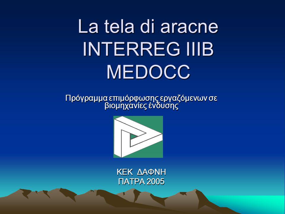 La tela di aracne ΙΝΤΕRREG IIIB MEDOCC Πρόγραμμα επιμόρφωσης εργαζόμενων σε βιομηχανίες ένδυσης ΚΕΚ ΔΑΦΝΗ ΠΑΤΡΑ 2005