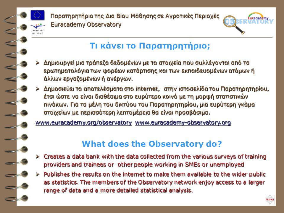 Τι κάνει το Παρατηρητήριο;  Δημιουργεί μια τράπεζα δεδομένων με τα στοιχεία που συλλέγονται από τα ερωτηματολόγια των φορέων κατάρτισης και των εκπαιδευομένων ατόμων ή άλλων εργαζομένων ή ανέργων.