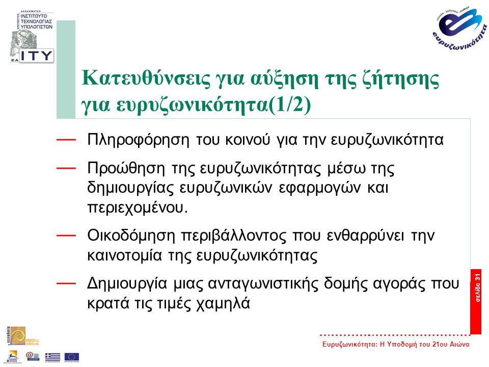 Ευρυζωνικότητα: Η Υποδομή του 21ου Αιώνα σελίδα 31 Κατευθύνσεις για αύξηση της ζήτησης για ευρυζωνικότητα(1/2) — Πληροφόρηση του κοινού για την ευρυζω