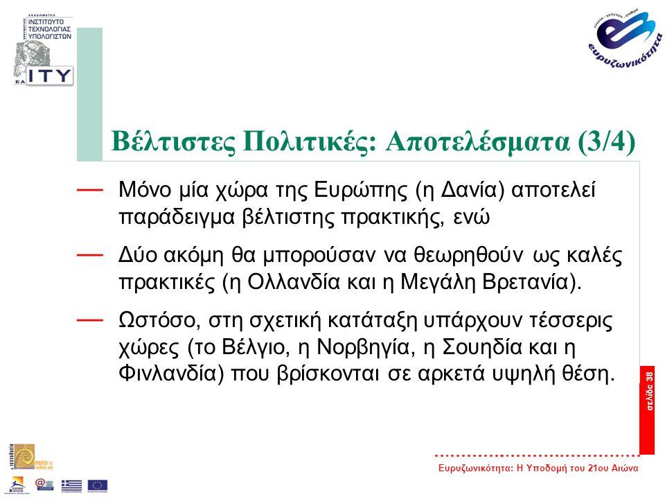 Ευρυζωνικότητα: Η Υποδομή του 21ου Αιώνα σελίδα 38 Βέλτιστες Πολιτικές: Αποτελέσματα (3/4) — Μόνο μία χώρα της Ευρώπης (η Δανία) αποτελεί παράδειγμα β
