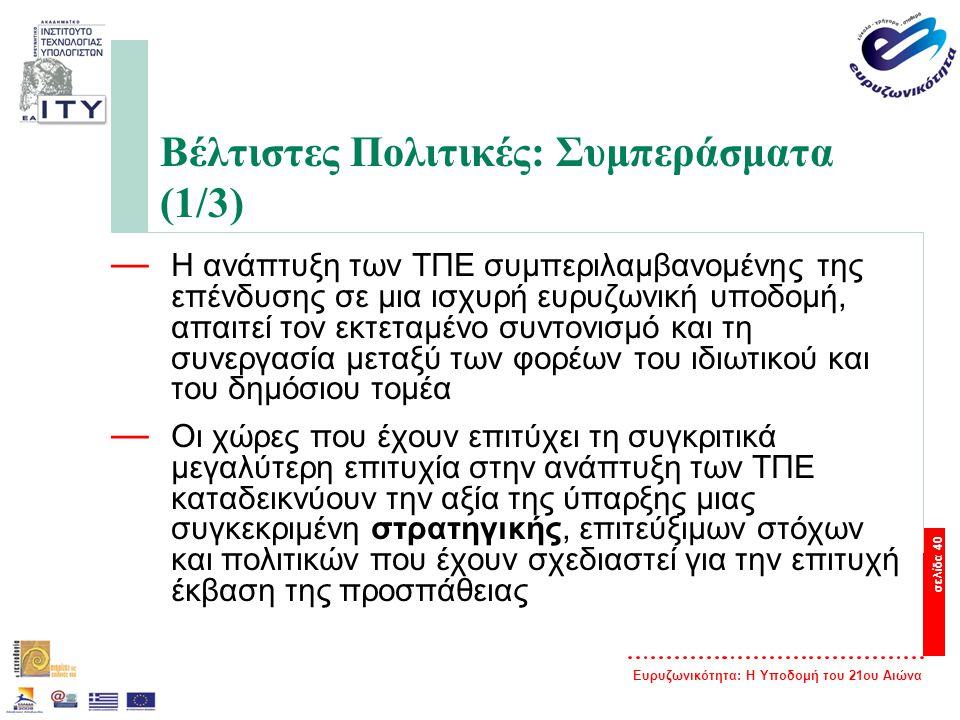 Ευρυζωνικότητα: Η Υποδομή του 21ου Αιώνα σελίδα 40 Βέλτιστες Πολιτικές: Συμπεράσματα (1/3) — Η ανάπτυξη των ΤΠΕ συμπεριλαμβανομένης της επένδυσης σε μ
