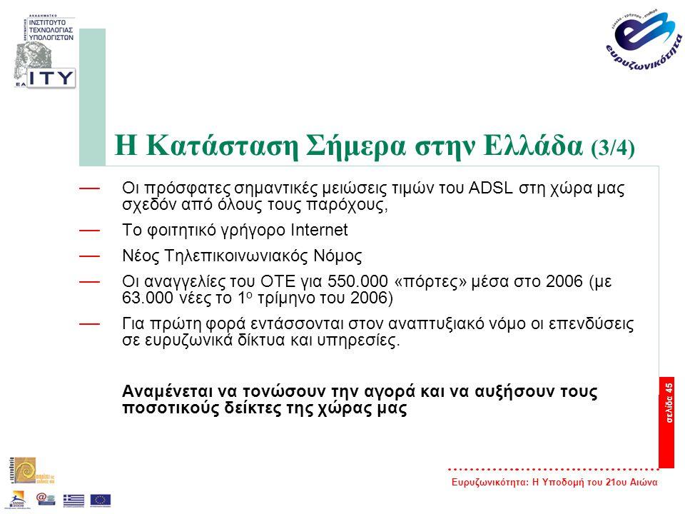 Ευρυζωνικότητα: Η Υποδομή του 21ου Αιώνα σελίδα 45 Η Κατάσταση Σήμερα στην Ελλάδα (3/4) — Οι πρόσφατες σημαντικές μειώσεις τιμών του ADSL στη χώρα μας