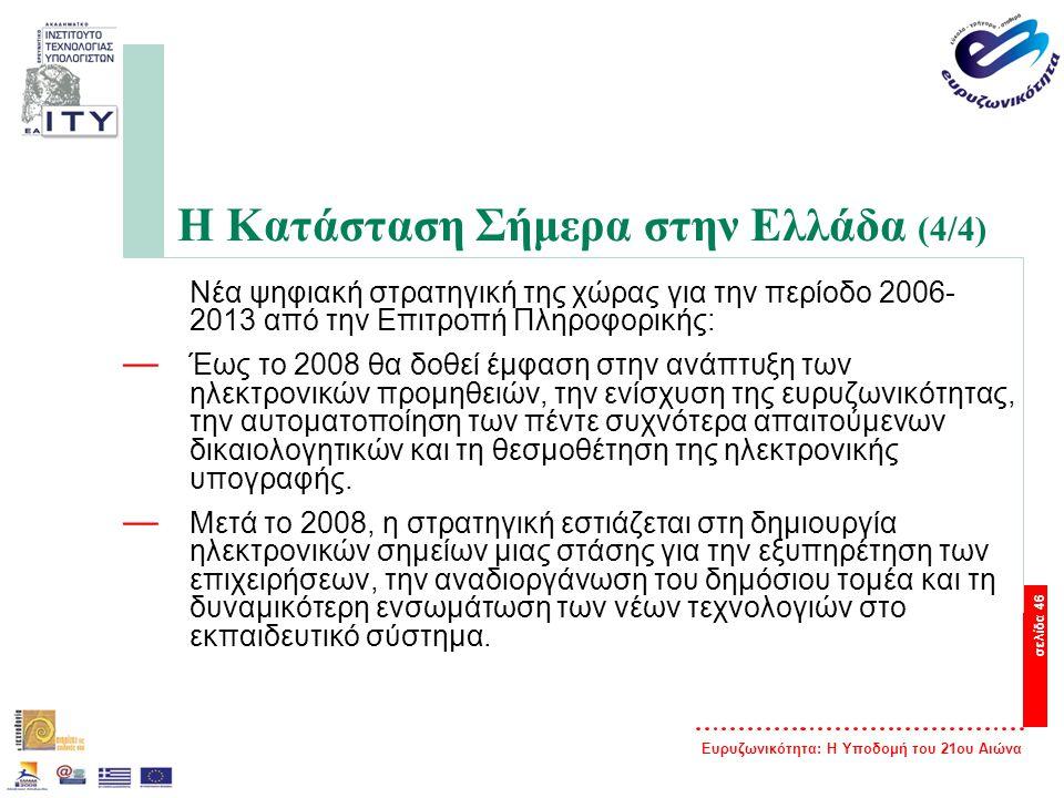 Ευρυζωνικότητα: Η Υποδομή του 21ου Αιώνα σελίδα 46 Η Κατάσταση Σήμερα στην Ελλάδα (4/4) Νέα ψηφιακή στρατηγική της χώρας για την περίοδο 2006- 2013 απ