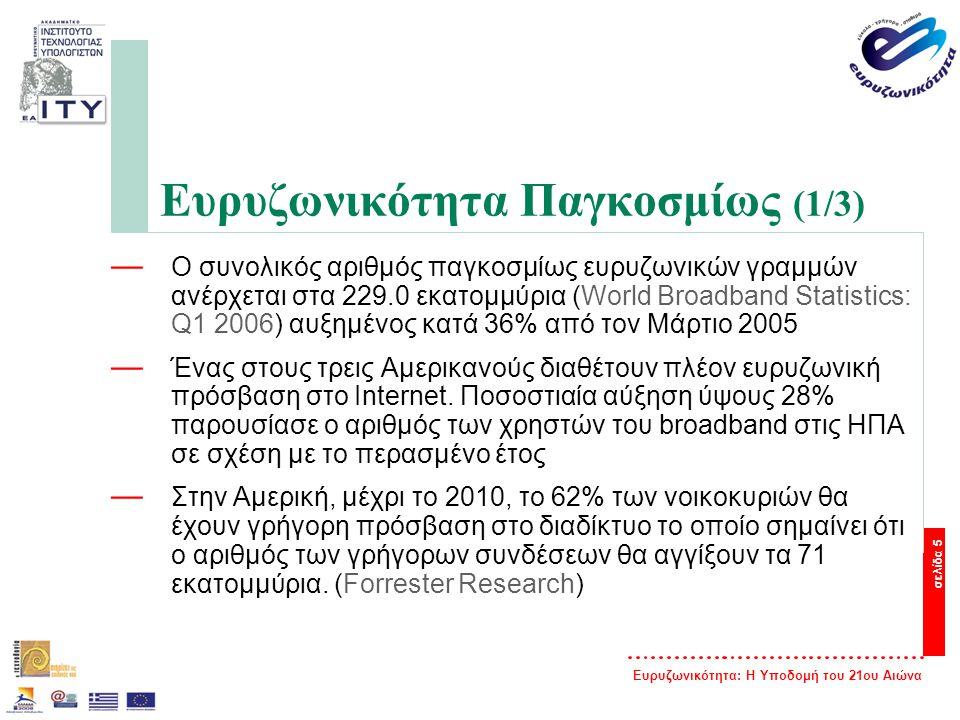 Ευρυζωνικότητα: Η Υποδομή του 21ου Αιώνα σελίδα 5 Ευρυζωνικότητα Παγκοσμίως (1/3) — Ο συνολικός αριθμός παγκοσμίως ευρυζωνικών γραμμών ανέρχεται στα 2
