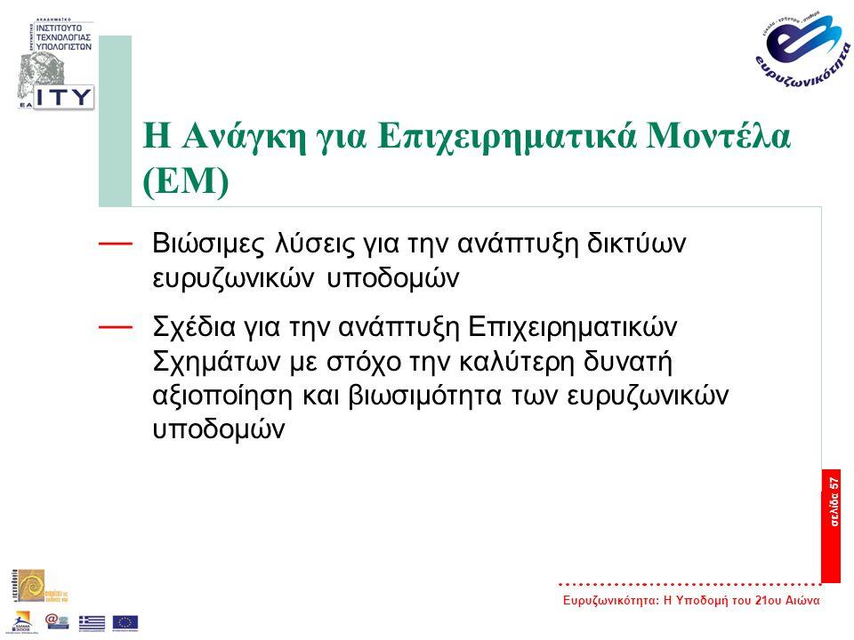 Ευρυζωνικότητα: Η Υποδομή του 21ου Αιώνα σελίδα 57 Η Ανάγκη για Επιχειρηματικά Μοντέλα (ΕΜ) — Βιώσιμες λύσεις για την ανάπτυξη δικτύων ευρυζωνικών υπο