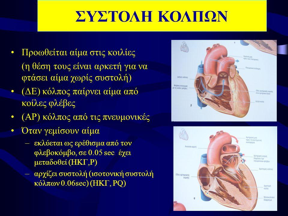•Προωθείται αίμα στις κοιλίες (η θέση τους είναι αρκετή για να φτάσει αίμα χωρίς συστολή) •(ΔΕ) κόλπος παίρνει αίμα από κοίλες φλέβες •(ΑΡ) κόλπος από τις πνευμονικές •Όταν γεμίσουν αίμα –εκλύεται ως ερέθισμα από τον φλεβοκόμβο, σε 0.05 sec έχει μεταδοθεί (ΗΚΓ,Ρ) –αρχίζει συστολή (ισοτονική συστολή κόλπων 0.06sec) (ΗΚΓ, PQ) ΣΥΣΤΟΛΗ ΚΟΛΠΩΝ