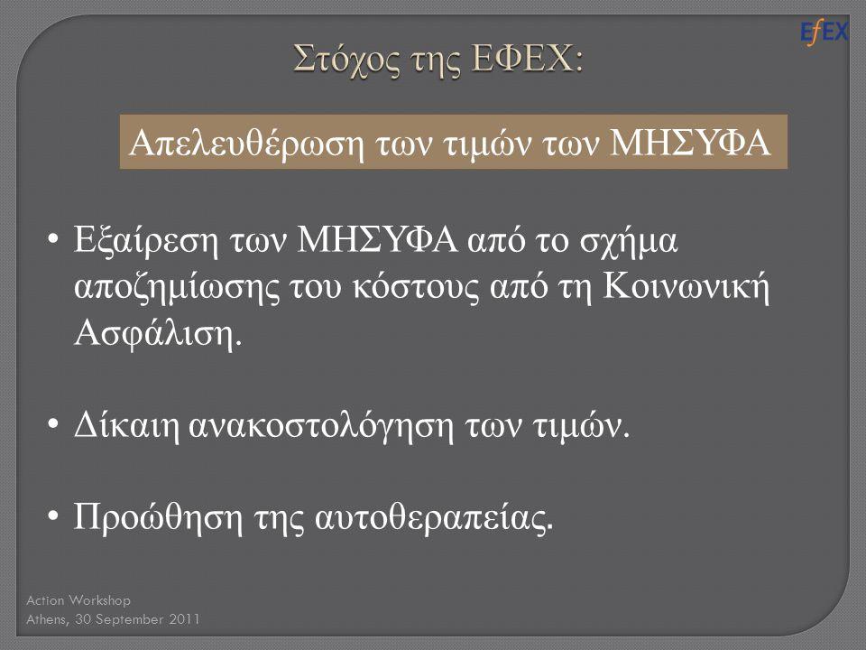 Action Workshop Athens, 30 September 2011 • Εξαίρεση των ΜΗΣΥΦΑ από το σχήμα αποζημίωσης του κόστους από τη Κοινωνική Ασφάλιση. • Δίκαιη ανακοστολόγησ