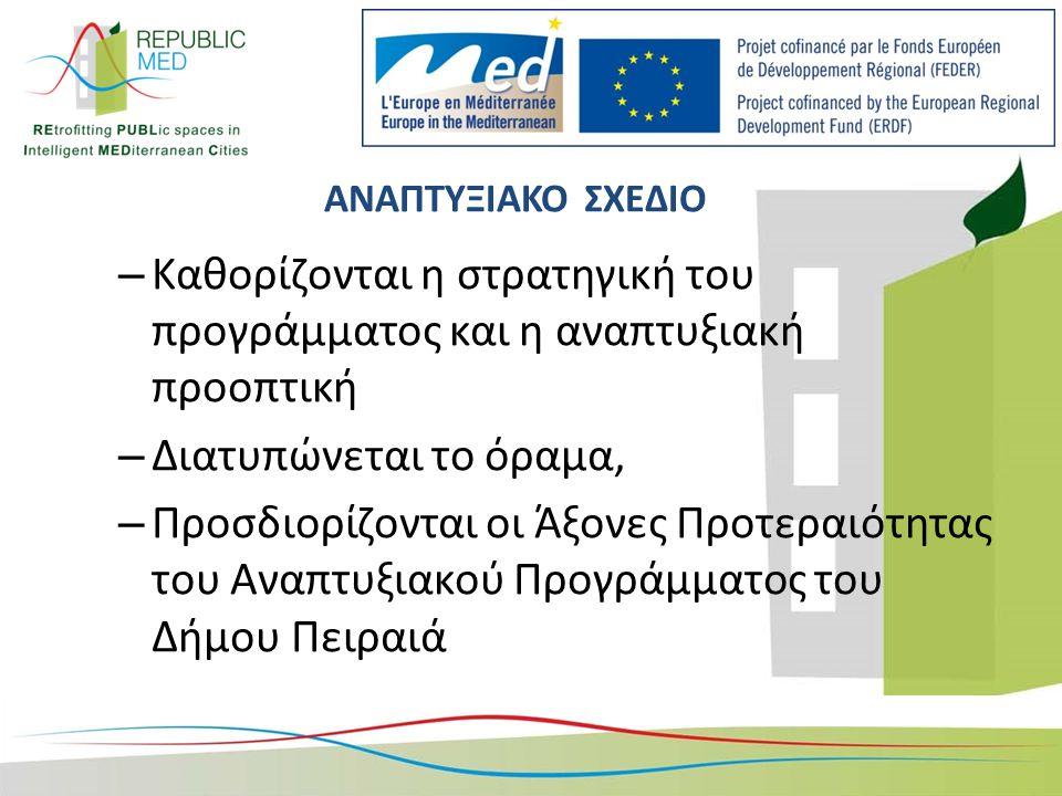 ΑΝΑΠΤΥΞΙΑΚΟ ΣΧΕΔΙΟ – Καθορίζονται η στρατηγική του προγράμματος και η αναπτυξιακή προοπτική – Διατυπώνεται το όραμα, – Προσδιορίζονται οι Άξονες Προτεραιότητας του Αναπτυξιακού Προγράμματος του Δήμου Πειραιά