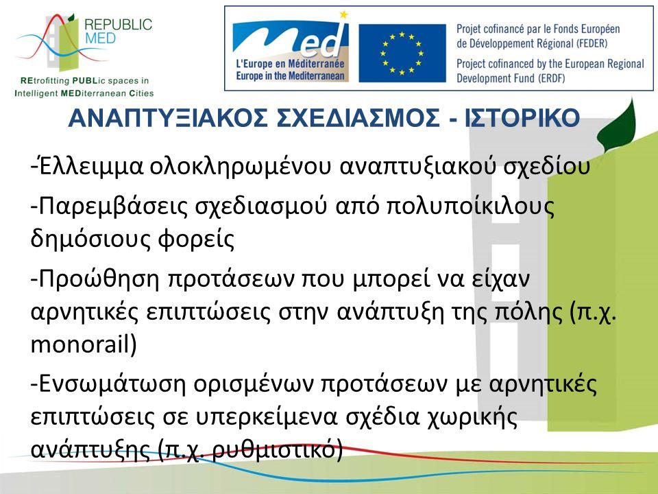 ΑΝΑΠΤΥΞΙΑΚΟΣ ΣΧΕΔΙΑΣΜΟΣ - ΙΣΤΟΡΙΚΟ - Έλλειμμα ολοκληρωμένου αναπτυξιακού σχεδίου -Παρεμβάσεις σχεδιασμού από πολυποίκιλους δημόσιους φορείς -Προώθηση