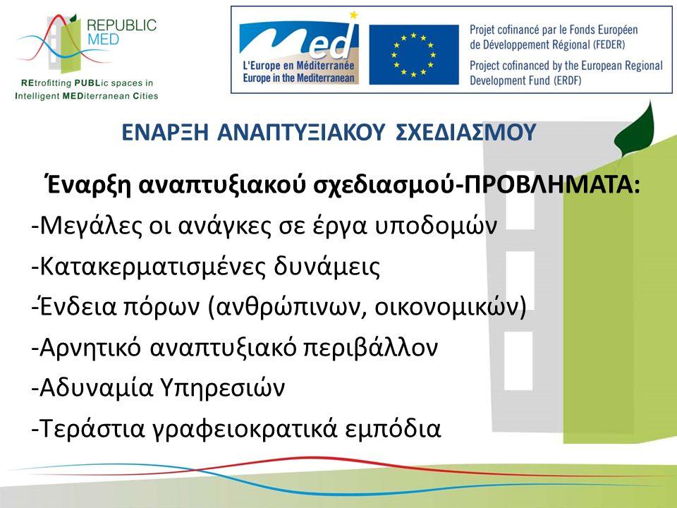 ΕΝΑΡΞΗ ΑΝΑΠΤΥΞΙΑΚΟΥ ΣΧΕΔΙΑΣΜΟΥ Έναρξη αναπτυξιακού σχεδιασμού-ΠΡΟΒΛΗΜΑΤΑ: -Μεγάλες οι ανάγκες σε έργα υποδομών -Κατακερματισμένες δυνάμεις -Ένδεια πόρων (ανθρώπινων, οικονομικών) -Αρνητικό αναπτυξιακό περιβάλλον -Αδυναμία Υπηρεσιών -Τεράστια γραφειοκρατικά εμπόδια