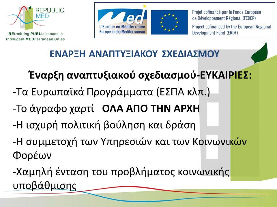 ΕΝΑΡΞΗ ΑΝΑΠΤΥΞΙΑΚΟΥ ΣΧΕΔΙΑΣΜΟΥ Έναρξη αναπτυξιακού σχεδιασμού-ΕΥΚΑΙΡΙΕΣ: -Τα Ευρωπαϊκά Προγράμματα (ΕΣΠΑ κλπ.) -Το άγραφο χαρτί ΟΛΑ ΑΠΟ ΤΗΝ ΑΡΧΗ -Η ισχυρή πολιτική βούληση και δράση -Η συμμετοχή των Υπηρεσιών και των Κοινωνικών Φορέων -Χαμηλή ένταση του προβλήματος κοινωνικής υποβάθμισης