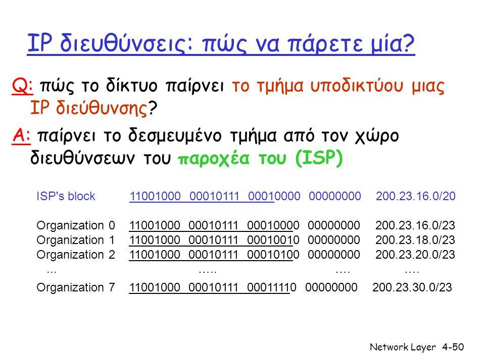 Network Layer4-50 IP διευθύνσεις: πώς να πάρετε μία? Q: πώς το δίκτυο παίρνει το τμήμα υποδικτύου μιας IP διεύθυνσης? A: παίρνει το δεσμευμένο τμήμα α