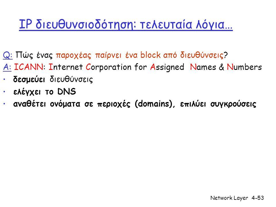 Network Layer4-53 IP διευθυνσιοδότηση: τελευταία λόγια… Q: Πώς ένας παροχέας παίρνει ένα block από διευθύνσεις? A: ICANN: Internet Corporation for Ass