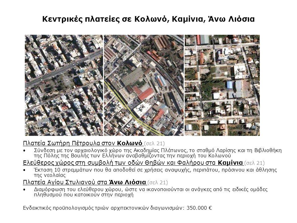 Κεντρικές πλατείες σε Κολωνό, Καμίνια, Άνω Λιόσια Πλατεία Σωτήρη Πέτρουλα στον Κολωνό (σελ 21) •Σύνδεση με τον αρχαιολογικό χώρο της Ακαδημίας Πλάτωνο