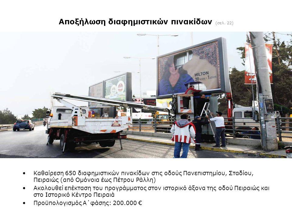 Αποξήλωση διαφημιστικών πινακίδων (σελ. 22) •Καθαίρεση 650 διαφημιστικών πινακίδων στις οδούς Πανεπιστημίου, Σταδίου, Πειραιώς (από Ομόνοια έως Πέτρου
