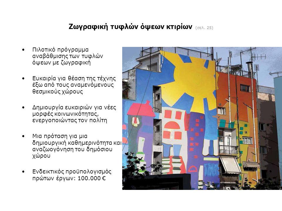 Ζωγραφική τυφλών όψεων κτιρίων (σελ. 25) •Πιλοτικό πρόγραμμα αναβάθμισης των τυφλών όψεων με ζωγραφική •Ευκαιρία για θέαση της τέχνης έξω από τους ανα