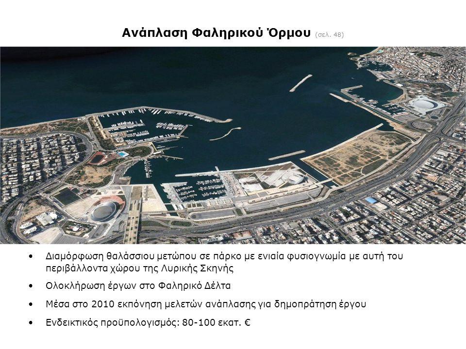 Ανάπλαση Φαληρικού Όρμου (σελ. 48) •Διαμόρφωση θαλάσσιου μετώπου σε πάρκο με ενιαία φυσιογνωμία με αυτή του περιβάλλοντα χώρου της Λυρικής Σκηνής •Ολο