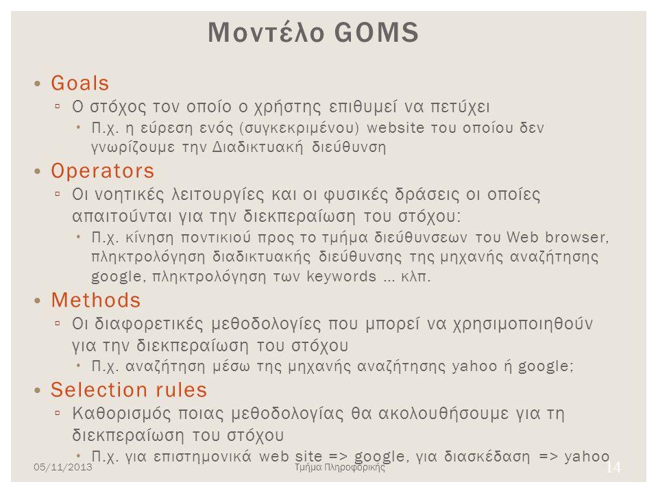 14 Μοντέλο GOMS • Goals ▫ Ο στόχος τον οποίο ο χρήστης επιθυμεί να πετύχει  Π.χ. η εύρεση ενός (συγκεκριμένου) website του οποίου δεν γνωρίζουμε την