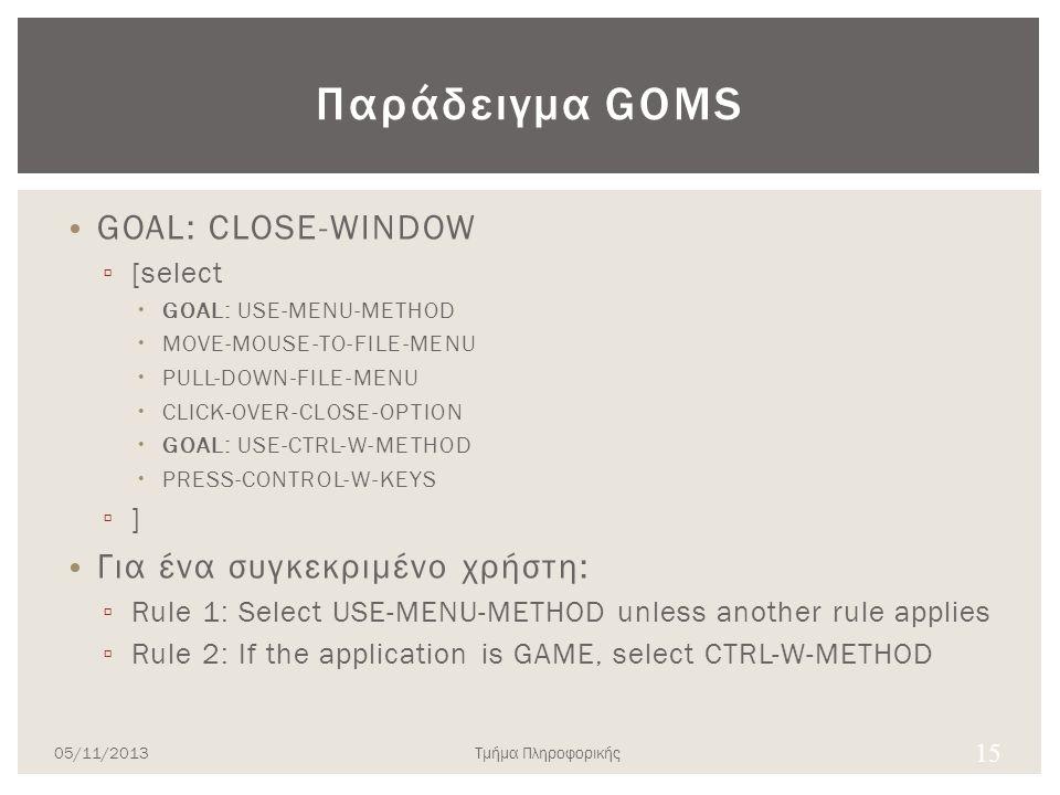 Παράδειγμα GOMS • GOAL: CLOSE-WINDOW ▫ [select  GOAL: USE-MENU-METHOD  MOVE-MOUSE-TO-FILE-MENU  PULL-DOWN-FILE-MENU  CLICK-OVER-CLOSE-OPTION  GOA
