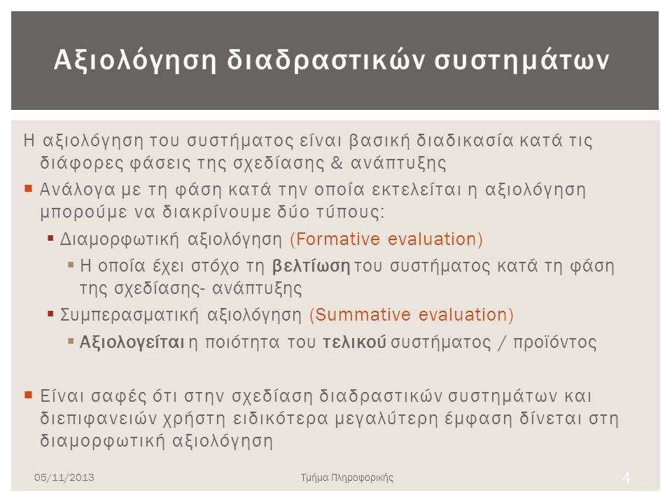 Αξιολόγηση διαδραστικών συστημάτων Η αξιολόγηση του συστήματος είναι βασική διαδικασία κατά τις διάφορες φάσεις της σχεδίασης & ανάπτυξης  Ανάλογα με