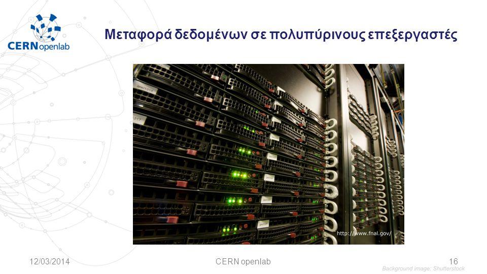 Μεταφορά δεδομένων σε πολυπύρινους επεξεργαστές 12/03/2014CERN openlab16
