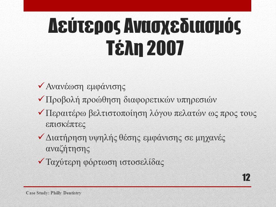 Δεύτερος Ανασχεδιασμός Τέλη 2007  Ανανέωση εμφάνισης  Προβολή προώθηση διαφορετικών υπηρεσιών  Περαιτέρω βελτιστοποίηση λόγου πελατών ως προς τους