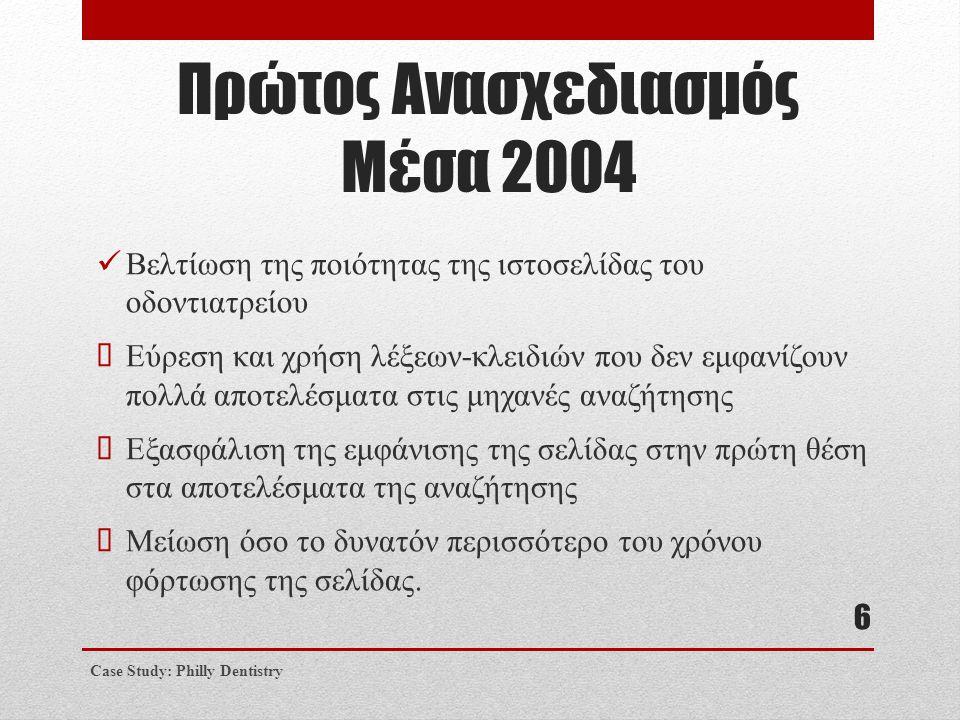 Πρώτος Ανασχεδιασμός Μέσα 2004  Βελτίωση της ποιότητας της ιστοσελίδας του οδοντιατρείου  Εύρεση και χρήση λέξεων-κλειδιών που δεν εμφανίζουν πολλά