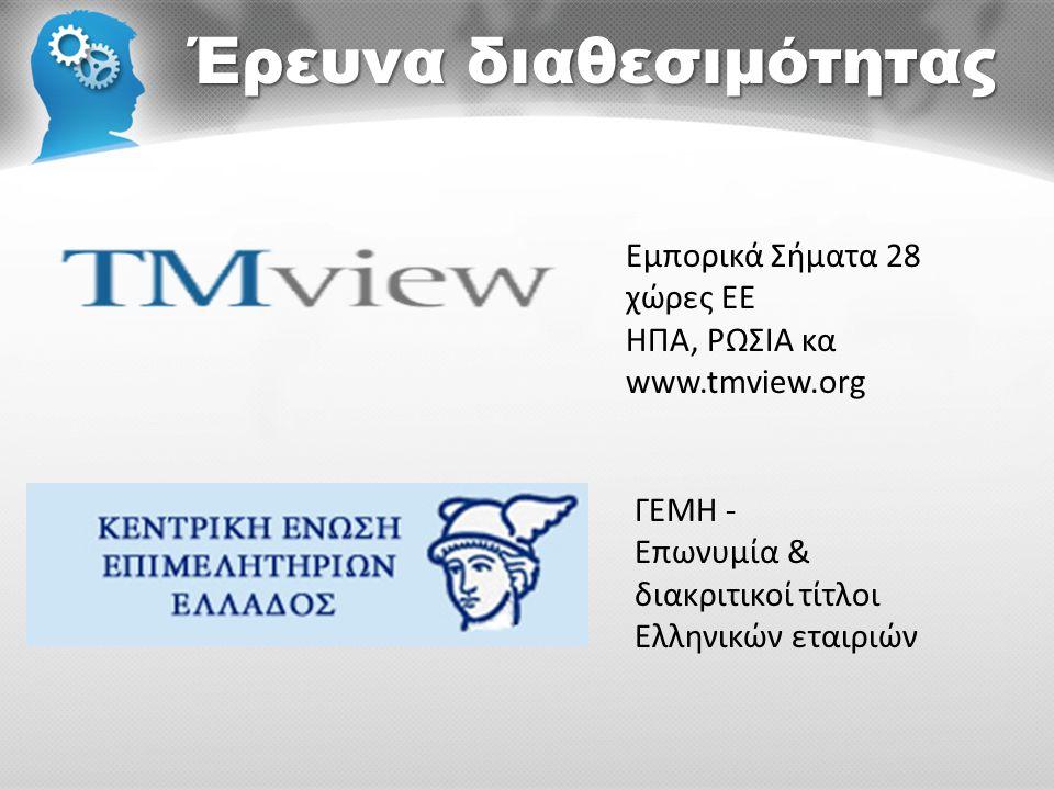 Έρευνα διαθεσιμότητας Εμπορικά Σήματα 28 χώρες ΕΕ ΗΠΑ, ΡΩΣΙΑ κα www.tmview.org ΓΕΜΗ - Επωνυμία & διακριτικοί τίτλοι Ελληνικών εταιριών