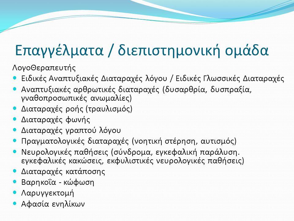 Επαγγέλματα / διεπιστημονική ομάδα ΛογοΘεραπευτής  Ειδικές Αναπτυξιακές Διαταραχές λόγου / Ειδικές Γλωσσικές Διαταραχές  Αναπτυξιακές αρθρωτικές δια