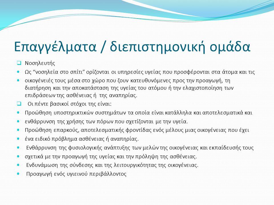 """Επαγγέλματα / διεπιστημονική ομάδα  Νοσηλευτής  Ως """"νοσηλεία στο σπίτι"""" ορίζονται οι υπηρεσίες υγείας που προσφέρονται στα άτοµα και τις  οικογένει"""