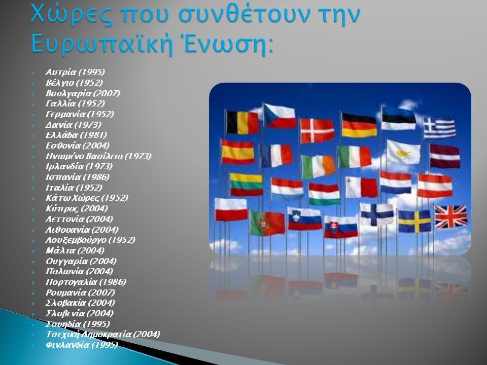  Αυτρία (1995)  Βέλγιο (1952)  Βουλγαρία (2007)  Γαλλία (1952)  Γερμανία (1952)  Δανία (1973)  Ελλάδα (1981)  Εσθονία (2004)  Ηνωμένο Βασίλειο (1973)  Ιρλανδία (1973)  Ισπανία (1986)  Ιταλία (1952)  Κάτω Χώρες (1952)  Κύπρος (2004)  Λεττονία (2004)  Λιθουανία (2004)  Λουξεμβούργο (1952)  Μάλτα (2004)  Ουγγαρία (2004)  Πολωνία (2004)  Πορτογαλία (1986)  Ρουμανία (2007)  Σλοβακία (2004)  Σλοβενία (2004)  Σουηδία (1995)  Τσεχική Δημοκρατία (2004)  Φινλανδία (1995)