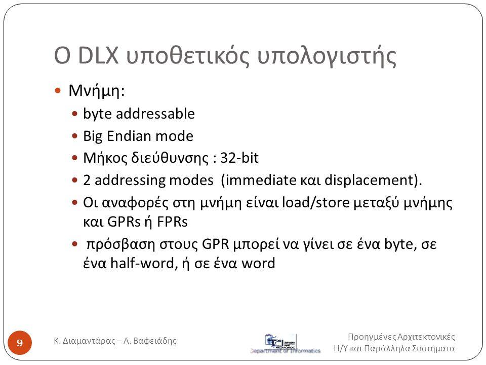O DLX υποθετικός υπολογιστής  Μνήμη:  byte addressable  Big Endian mode  Μήκος διεύθυνσης : 32-bit  2 addressing modes (immediate και displacemen