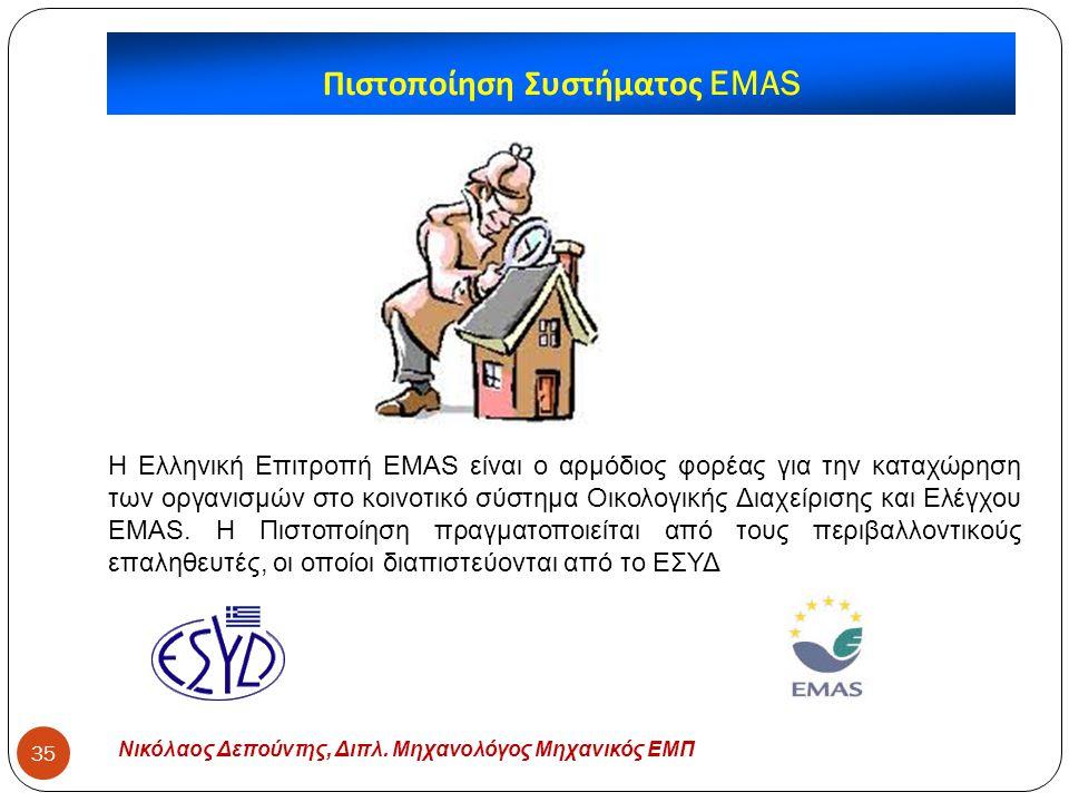 Νικόλαος Δεπούντης, Διπλ. Μηχανολόγος Μηχανικός ΕΜΠ 35 Πιστοποίηση Συστήματος EMAS H Ελληνική Επιτροπή EMAS είναι ο αρμόδιος φορέας για την καταχώρηση