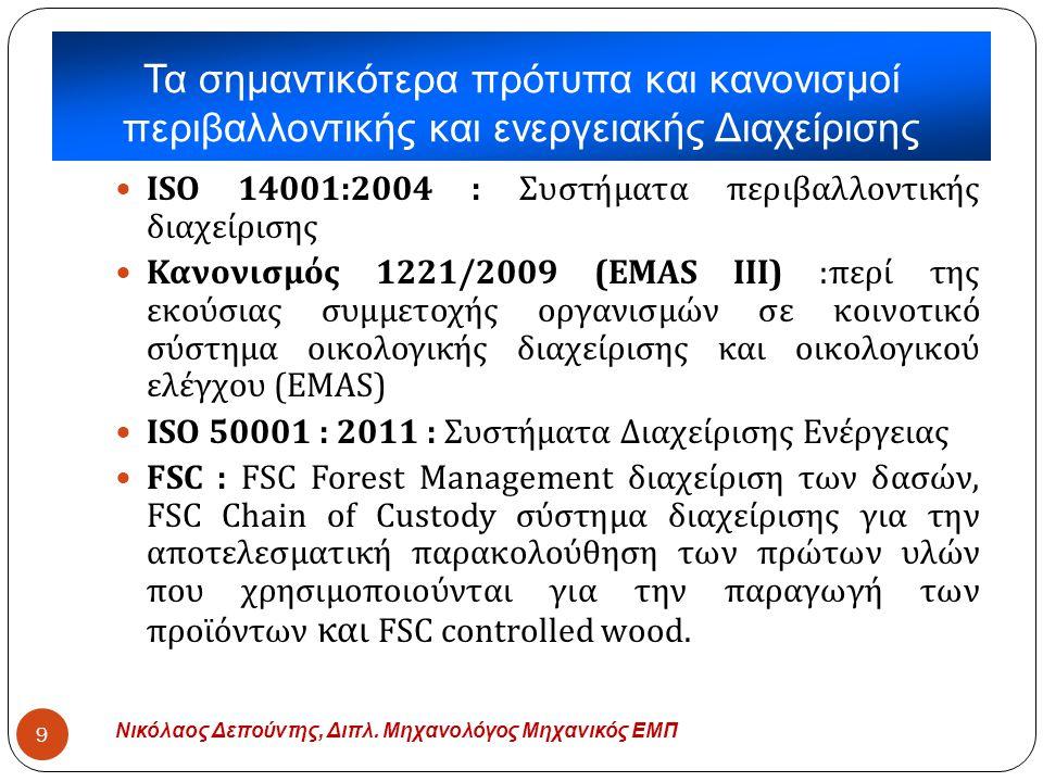 Νικόλαος Δεπούντης, Διπλ. Μηχανολόγος Μηχανικός ΕΜΠ 9  ISO 14001:2004 : Συστήματα περιβαλλοντικής διαχείρισης  Κανονισμός 1221/2009 (EMAS III) : περ