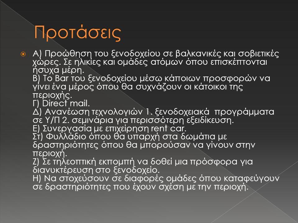 Α) Προώθηση του ξενοδοχείου σε βαλκανικές και σοβιετικές χώρες.